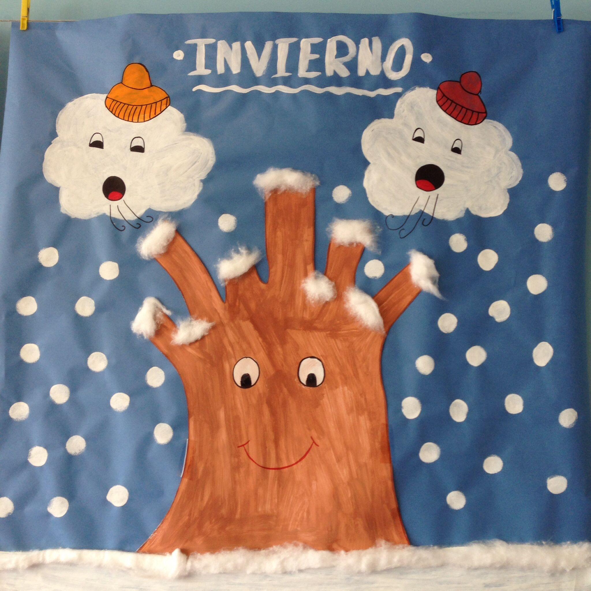 Mural Invierno 2 3 A Os Infantil Pinterest Murales Invierno  ~ Manualidades De Navidad Para  Ninos De Tres Años
