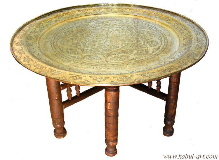 97 Cm Antik Orientalische Messing Tablett Teetisch Tisch Massiv Holzgestell XL