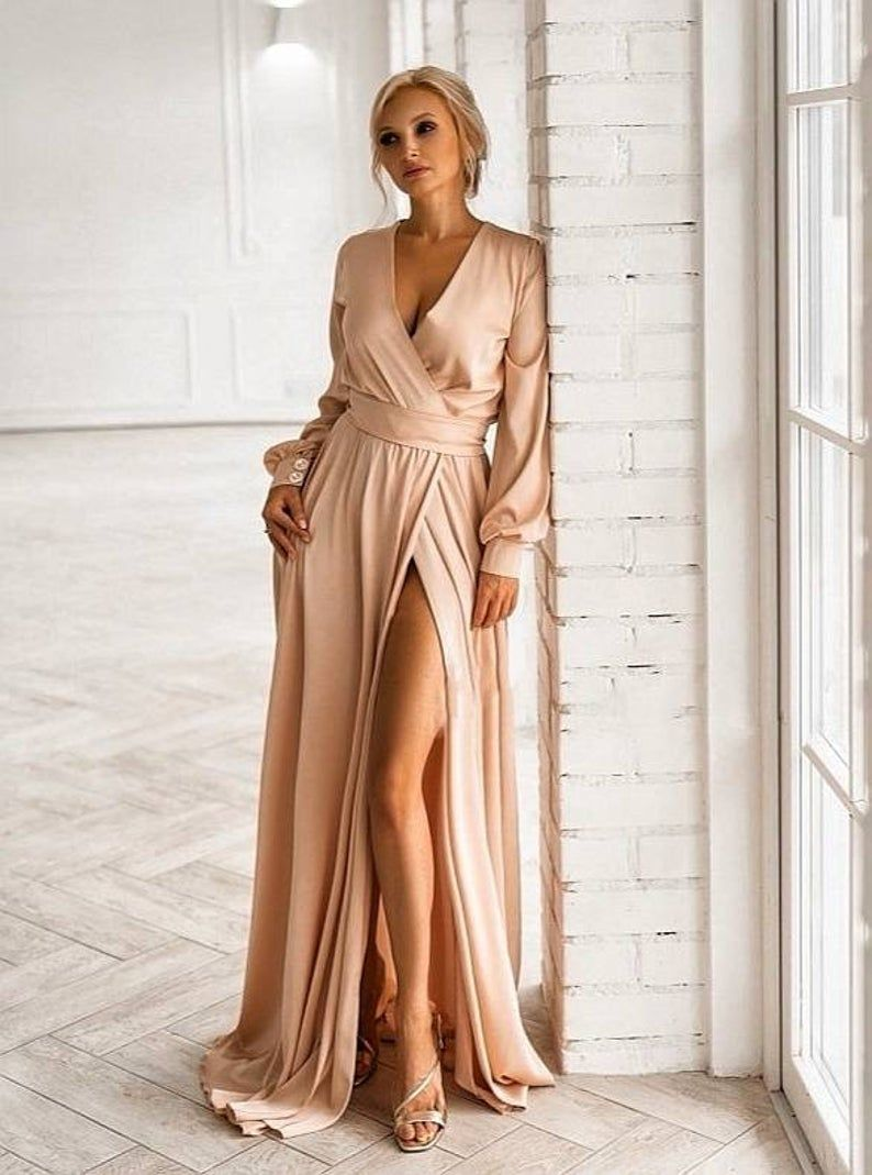 Champagne Mother Of The Bride Dress Beige Silk Satin Wedding Etsy Long Sleeve Bridesmaid Dress Silk Bridesmaid Dresses Silk Dress Long [ 1069 x 794 Pixel ]