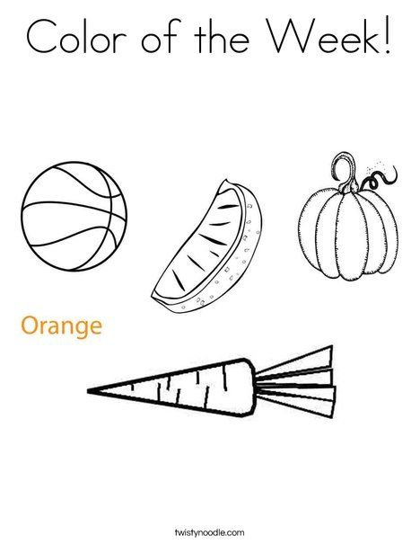 Color Of The Week Orange Coloring Page From Twistynoodle Com