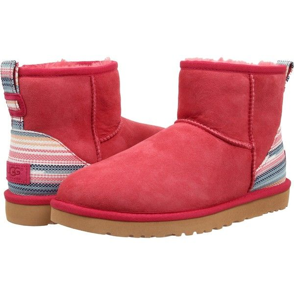 Womens Boots UGG Classic Mini Serape Sunset Red Twinface