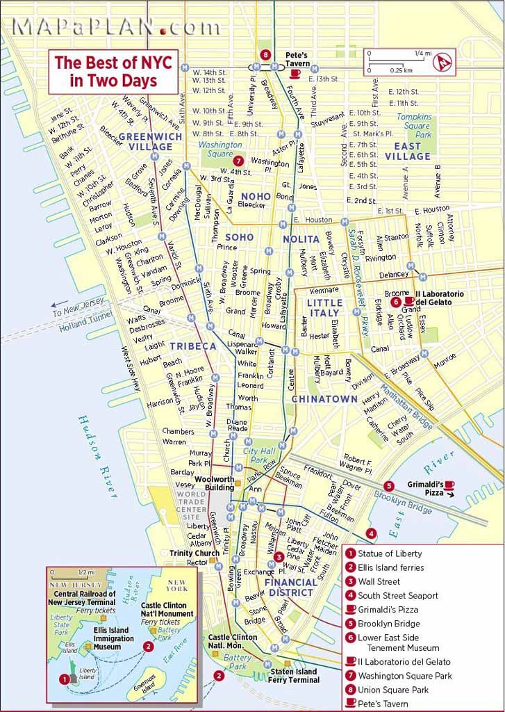Map Of New York City Tourist Sites.The Best Of Nyc In Two Days New York Top Tourist Attractions Map