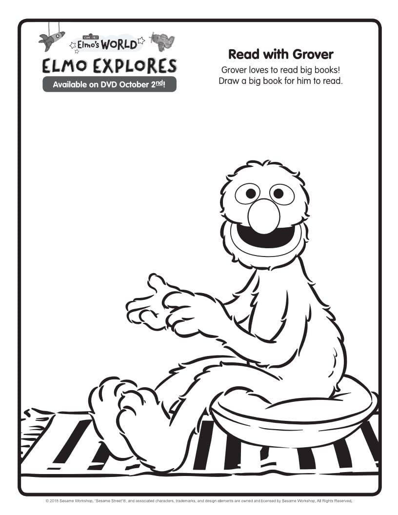 Free Printable Sesame Street Grover Coloring Page From Elmo S World Tv Show Coloring Pages Elmo World Sesame Street