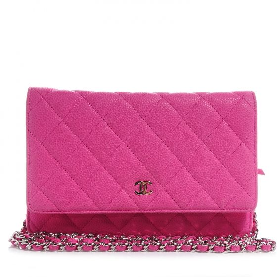 7a655fc318cd CHANEL Iridescent Caviar Wallet on Chain WOC in Hot Pink. This hot rose pink  wallet is crafted of classic Chanel lustrous caviar leather with signature  ...