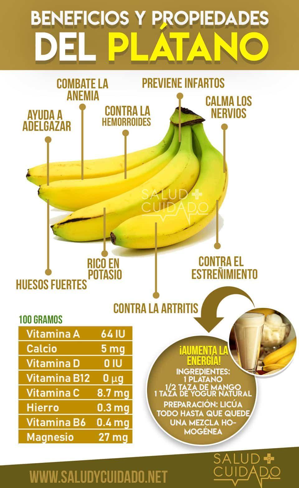 Beneficios Y Propiedades Del Plátano Para La Salud Propiedades Del Platano Platano Beneficios Beneficios De Alimentos