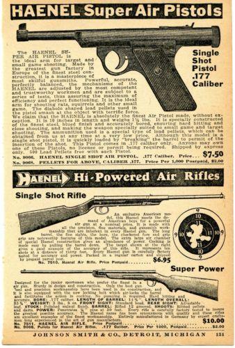 1936 Print Ad of Haenel Single Shot Air Pistol Super Power