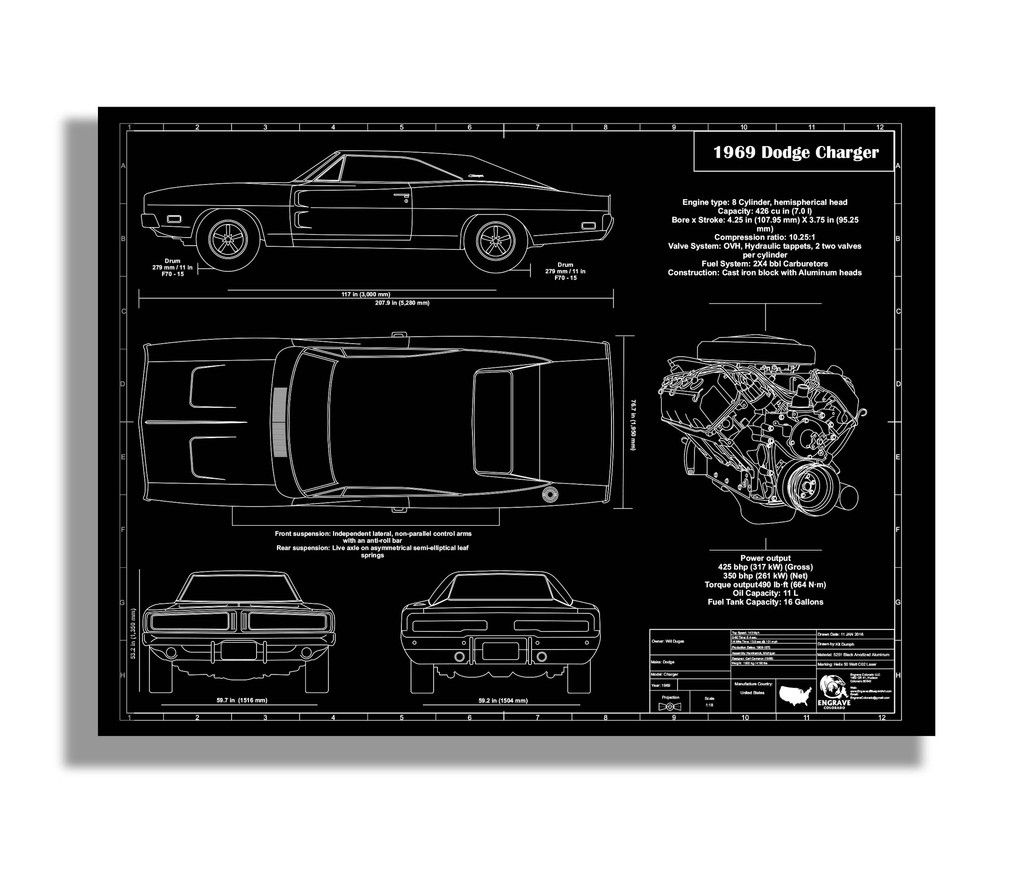 This Is A Detail Intensive Blueprint Drawing Of A Dodge Charger With Technical