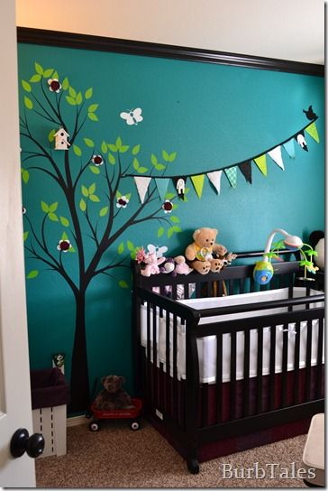 Teal Nursery Tree Wall Decal Bunting Flags On The Wall