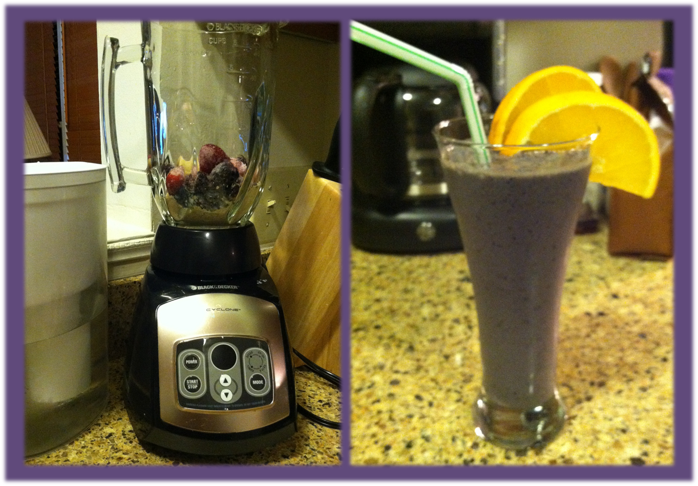 Smoothie before and after: 1 scoop arbonne protein powder, 1 scoop vega, 1/2 frozen banana, frozen berries, water = dinner :) Add greens and a veggie for a more complete meal. #spoonie #vegan #glutenfree #chronicpain #antiinflammatory #chronicillness #yummy #food