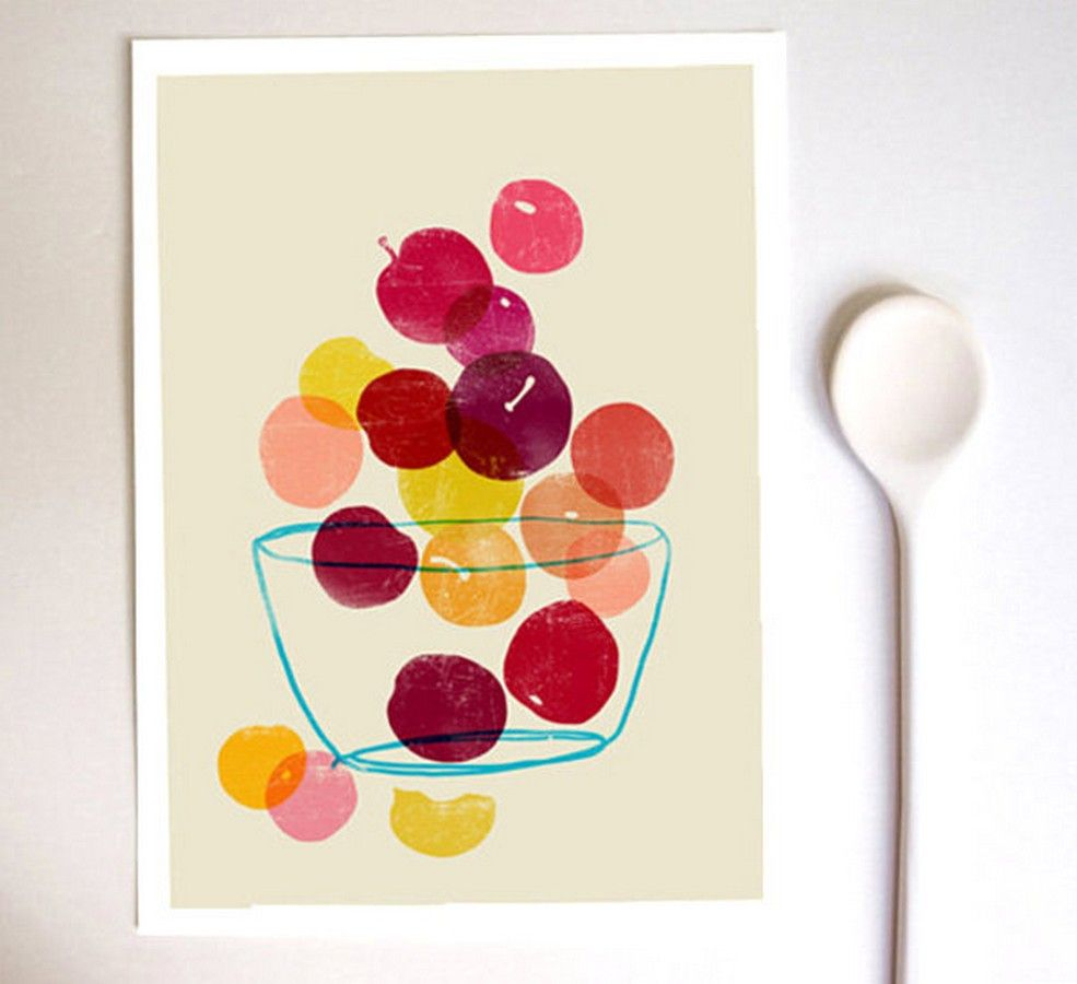 Decoration: Vivid Colors Summer Fruit Artwork Printing For Kitchen ...