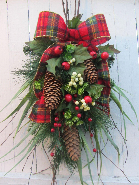 Christmas Door Spray Pine Wreath Holiday Wreath Winter Wreath 62 95 Via Ets Christmas Gift Decorations Holiday Wreaths Pine Cone Christmas Decorations