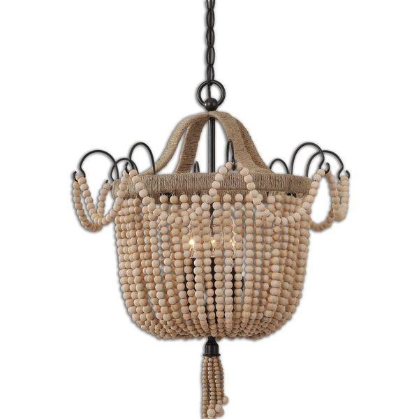 uttermost civenna 3 light metal wood rope pendant beach house