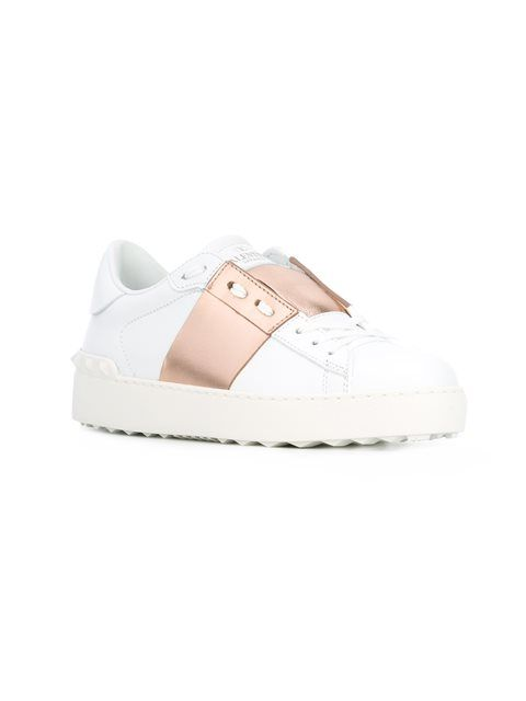673247c14fb0bf Valentino White Rose Gold Open Rockstud Sneakers | boujie shit ...