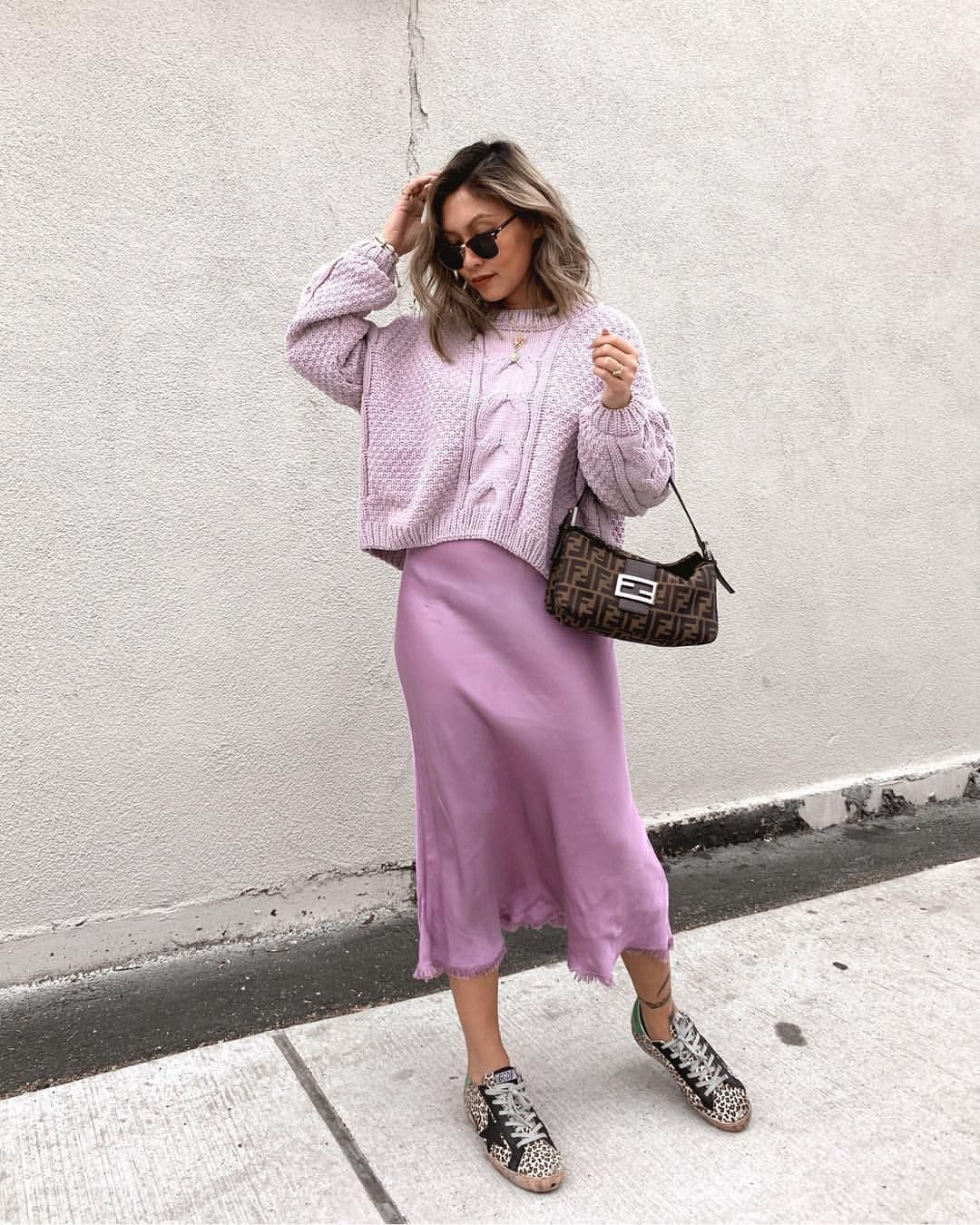Slipdress with sneakers. Lilac outfit