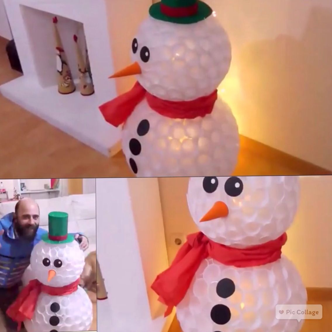 Plastic cup snowman diy pinteres for Cup snowman