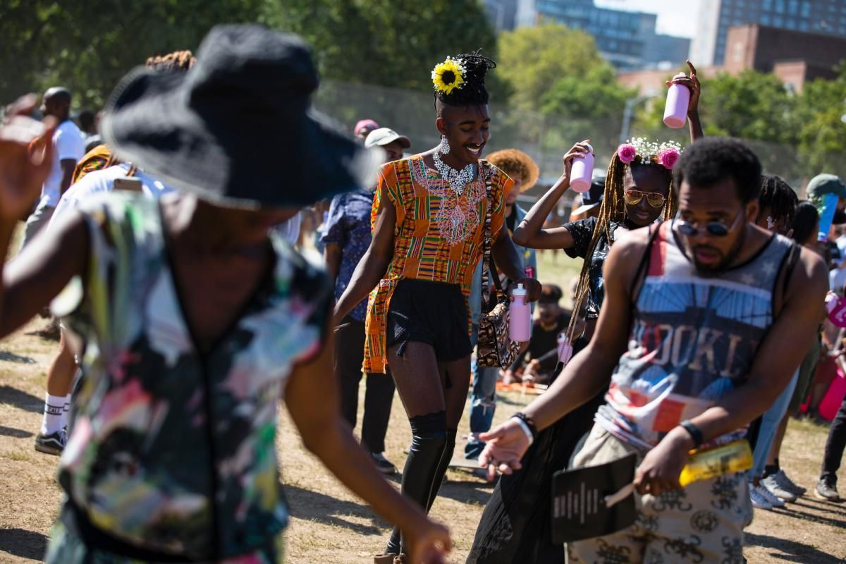 Festival goers dance at the Afropunk Festival at Commodore