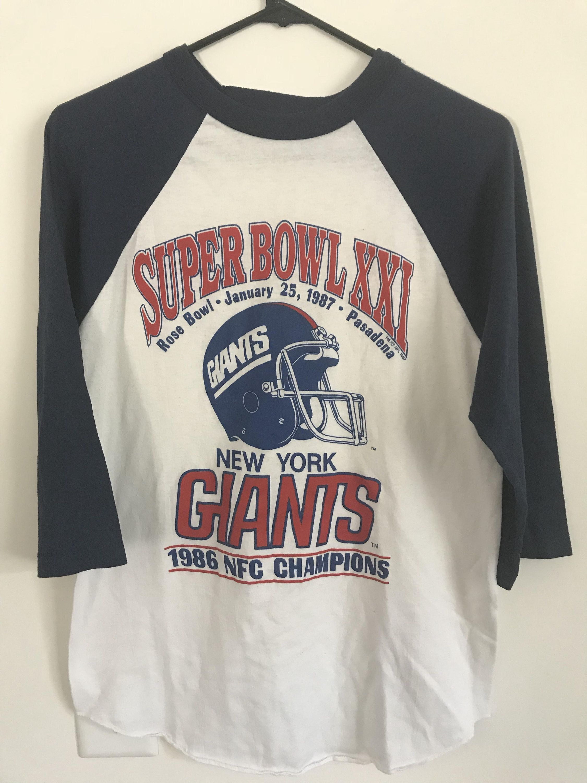 Vintage 80 s Super Bowl 21 XXI NFL New York Giants Raglan Ringer 3 4 Sleeve Jersey  Shirt - Size Medium by RackRaidersVtg on Etsy c748630ba