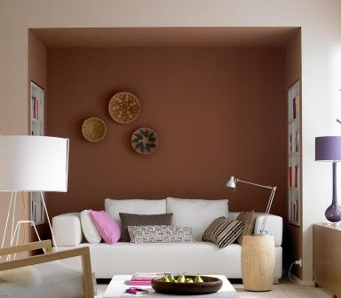 Wandfarben Braun, Beige, Grau und Violett Kuschelecke in Braun