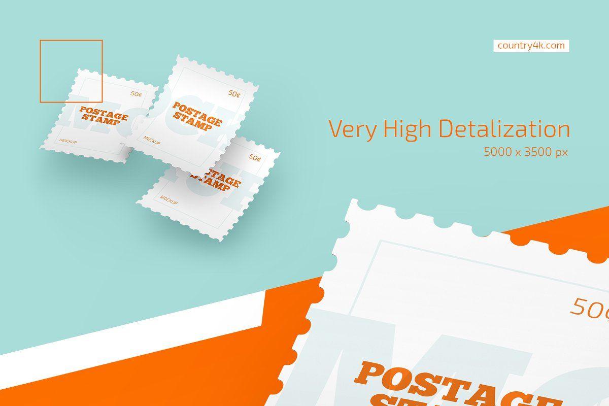 Postage Stamp Mockup Set Stationery Mockup Post Stamp Postage Stamps