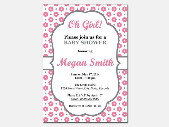 Oh Girl Baby Shower Invitation Template Diy By Designtemplates