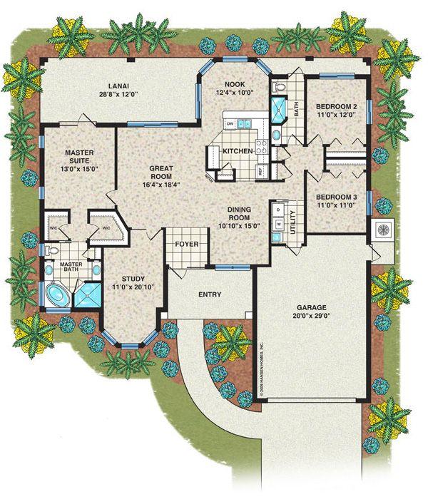 Slater Home Plan 3 Bedroom 2 Bath 2 Car Garage Floorplans