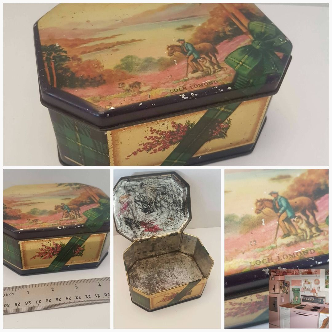 Items similar to vintage loch lomond tin storage container / box on Etsy