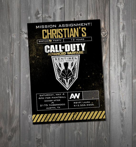 Customized Call Of Duty Invitation Advanced By