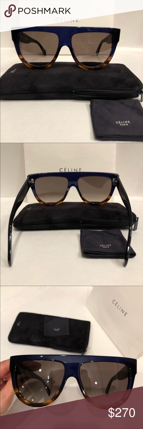 fab22bef7b62 Celine sunglasses 😎 Celine 41026 s shadow Dark blue tortoise sunglasses  Very nice shades.