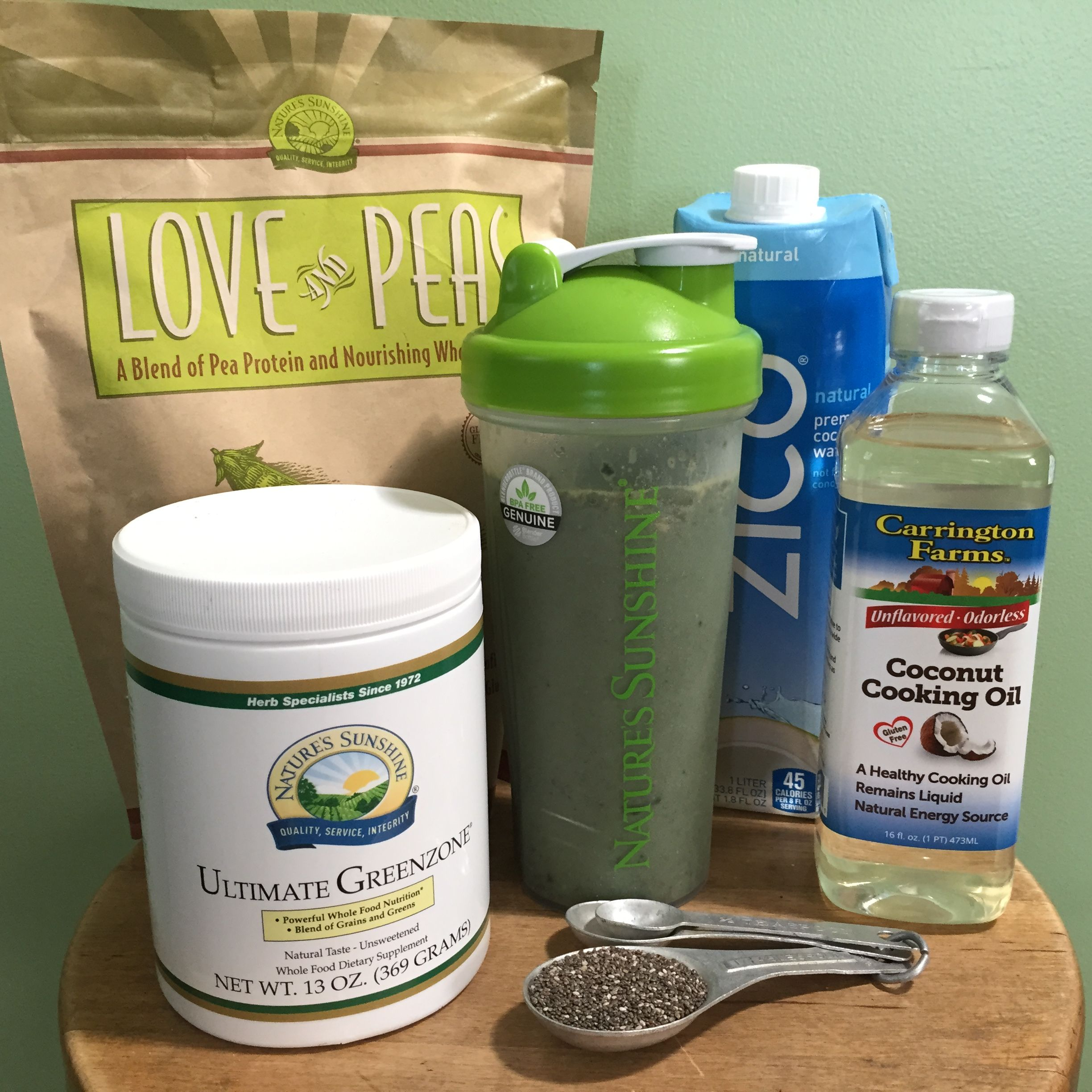 Protein Shake Recipe!!  20 grams pea protein + greens + coconut oil + coconut water + chia seeds! http://sunshinewellness.mynsp.com