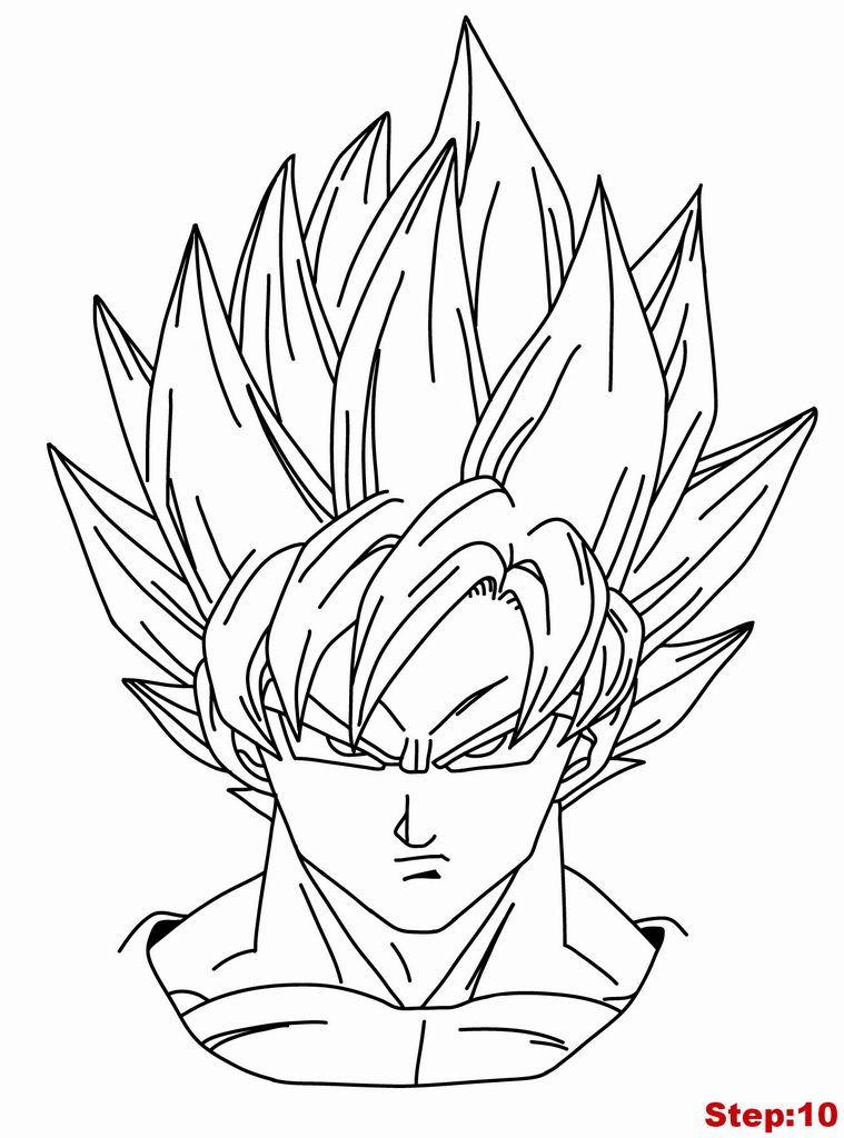 Drawing Goku Super Saiyan From Dragonball Z Tutorial Step 10 Dbz