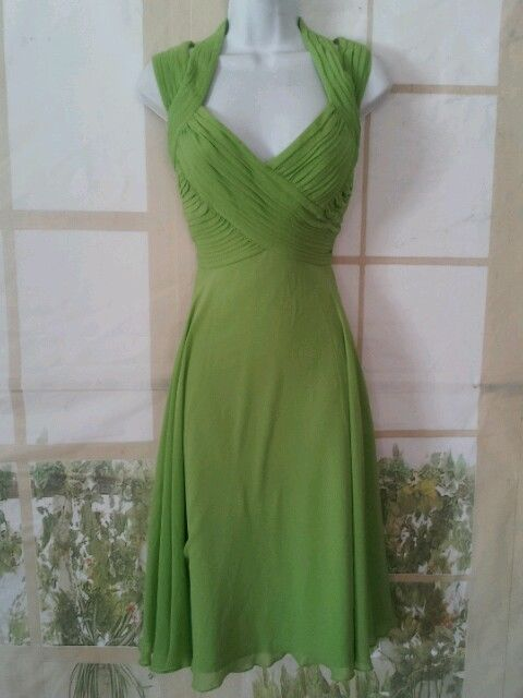 395 Tadashi Collection Green Silk Ruched Dress Empire Cocktail ...