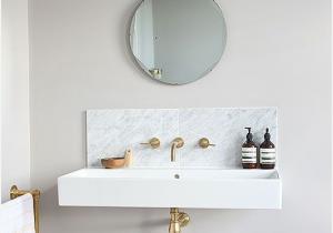 Wall Mount Bathroom Sink With Backsplash Really Encourage Marble Slab Backsplash With Wall Mounted S Wall Mounted Sink Powder Room Sink Round Mirror Bathroom