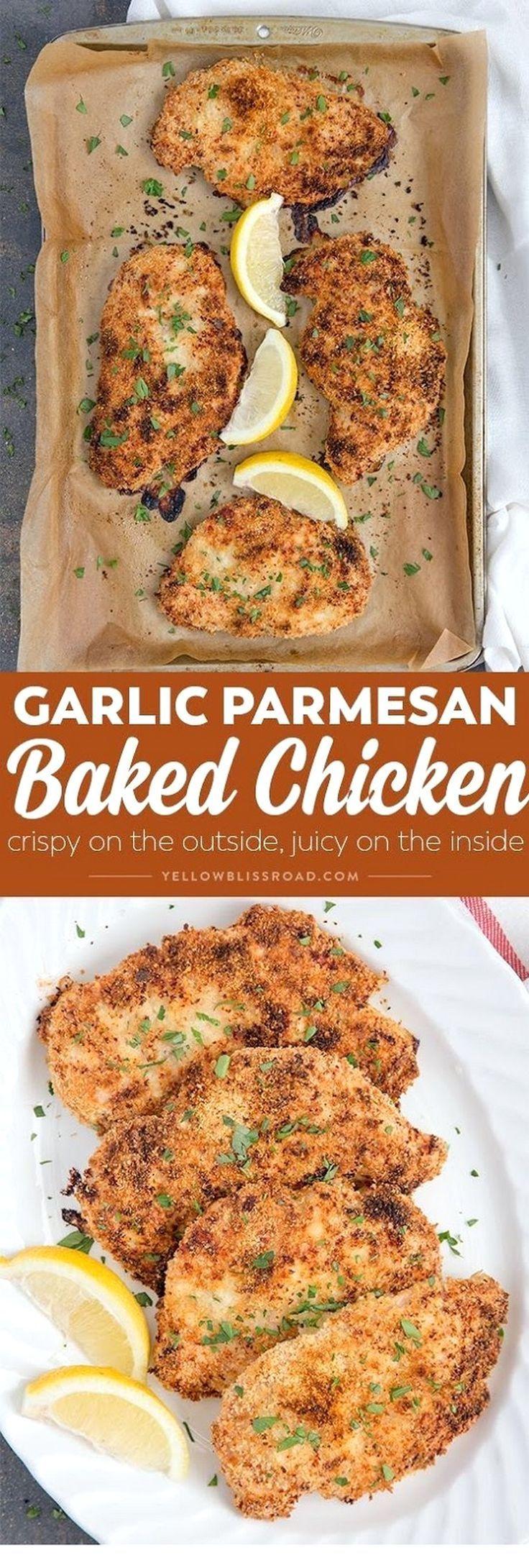 Crispy Garlic Parmesan Baked Chicken   Chicken Recipes - Essen & Trinken - Gesund und lecker?! eat and drink - healthy and tasty! -