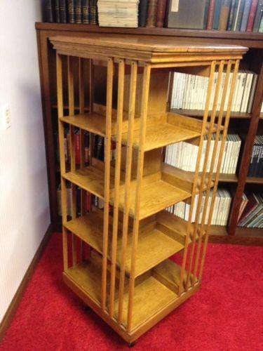 Solid Oak Rotating Revolving Antique Bookcase Bookshelf C 1900 I