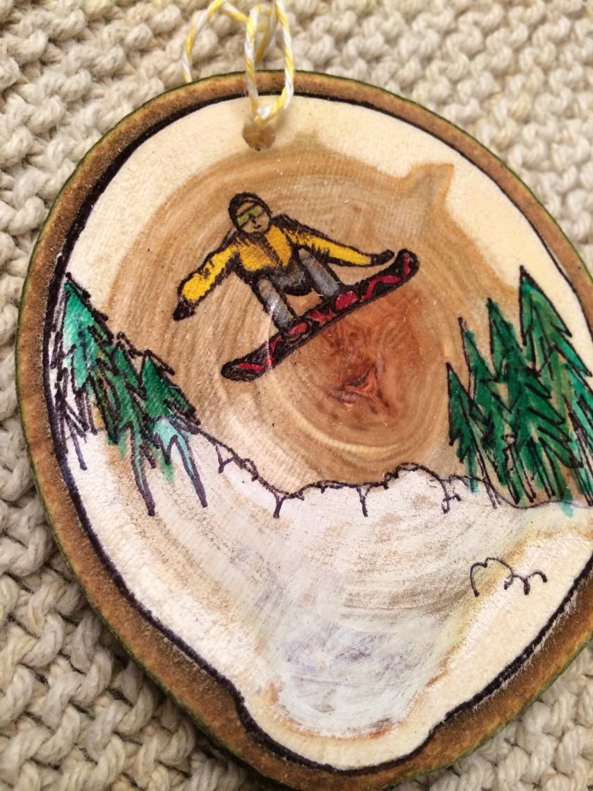 Snowboard wood slice ornament from JustPlainJane.etsy.com  fe9cad0025
