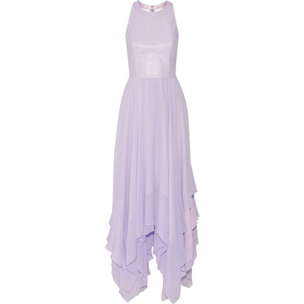 Alice + Olivia Mai leather paneled silk chiffon gown (€420