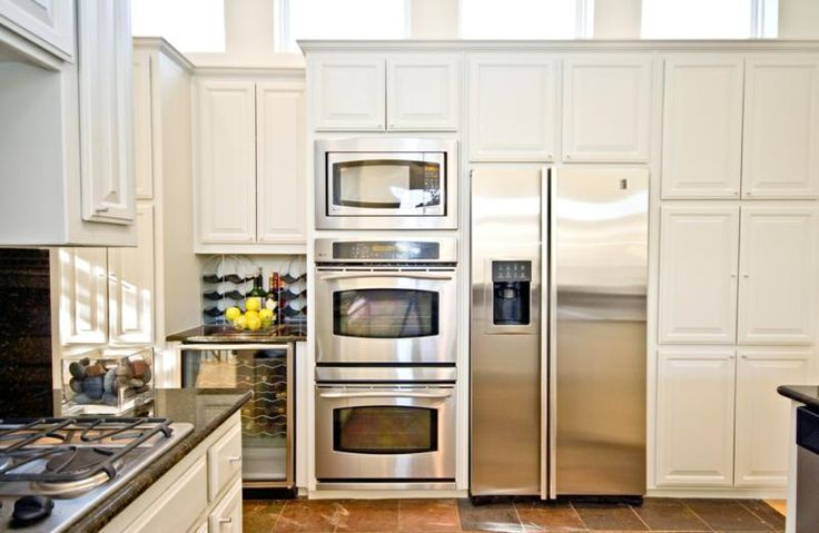 double oven kitchen | double oven next to refrigerator ...