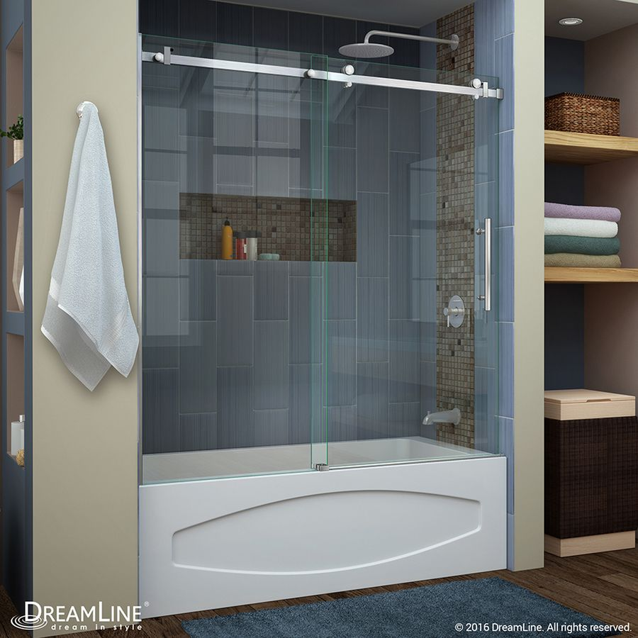 Dreamline Enigma Air 62 In H X 56 In To 60 In W Frameless Bypass Sliding Brushed Stainless Steel Bathtub Door Clear Glass Lowes Com Bathtub Doors Tub Doors Tub Shower Doors