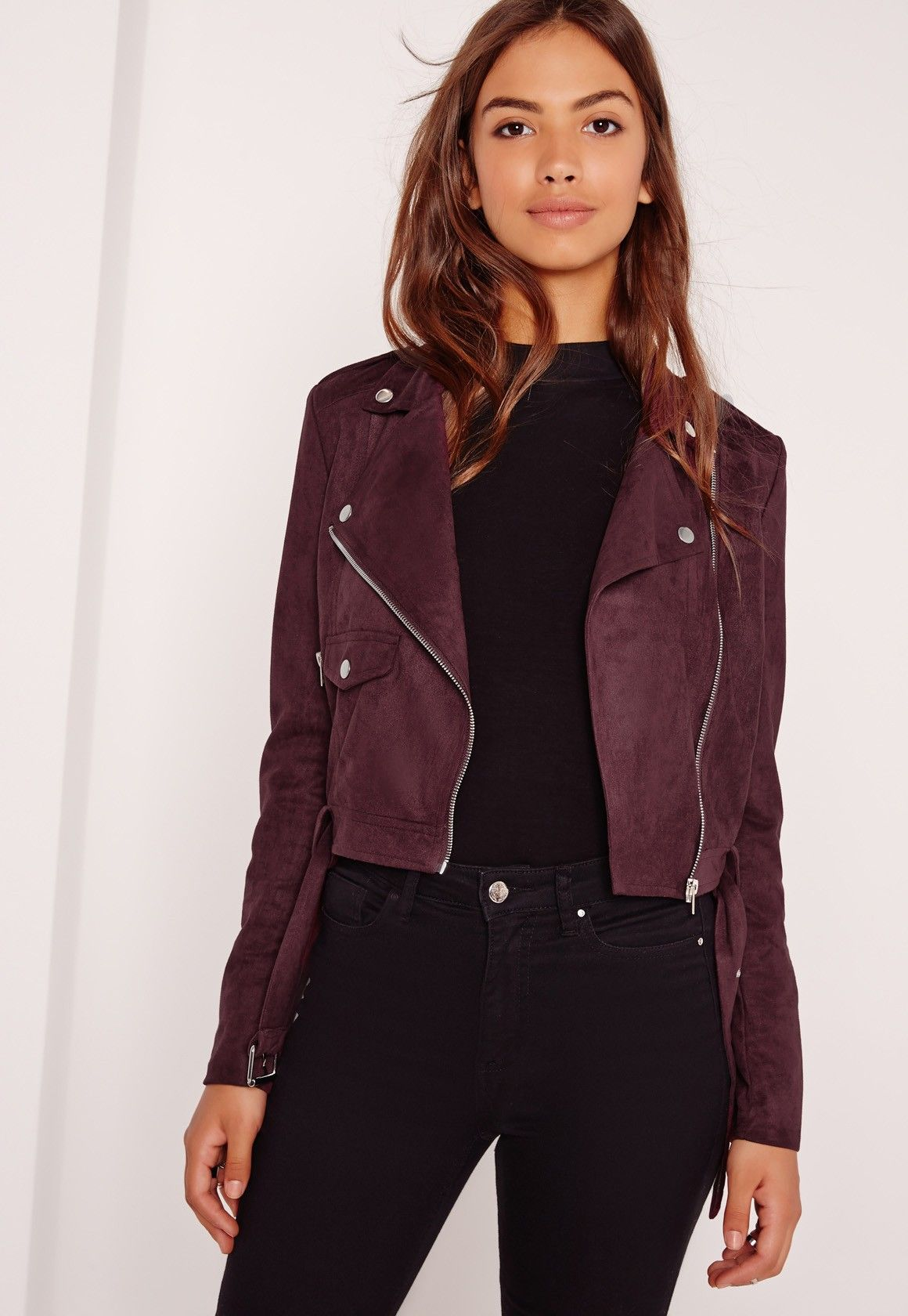 Missguided Faux Suede Biker Jacket Burgundy Coats