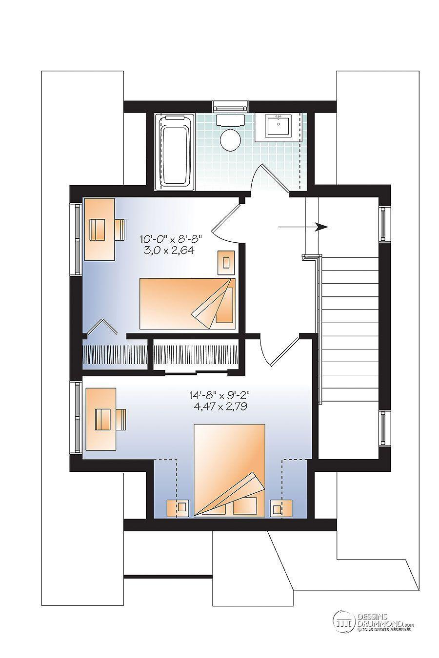 Détail Du Plan De Maison Unifamiliale W1908 Petites