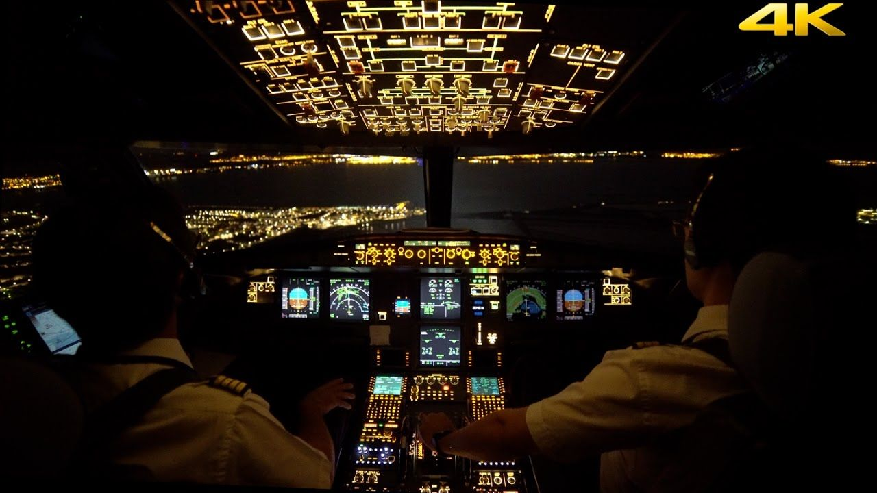 Night landing cockpit view 4k youtube aviation - 4k cockpit wallpaper ...