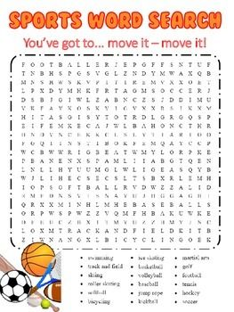 image relating to Sports Word Search Printable called Sports activities Themed Phrase Glimpse TpT Language Arts Classes