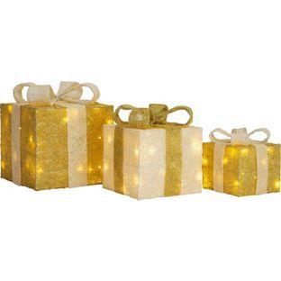 buy set of 3 christmas light up gift boxes gold at argos co uk