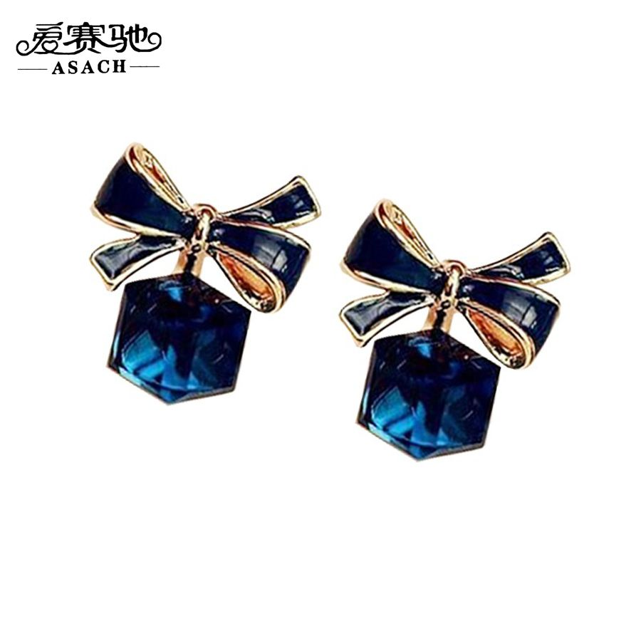 Korean Style Bow-knot Earrings For Women Girl High Quality Cute Crystal Glass Stud Earring kolczyki damskie ohrstecker //Price: $7.95 & FREE Shipping // #fashion #fashionable #style #styles #musthave #accessories