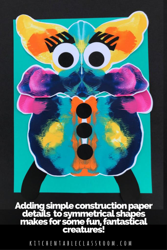 Symmetry Paint Squish Monsters Kindergarten art