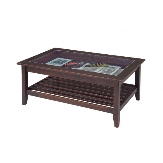 Glass Top Display Coffee Table - Chestnut