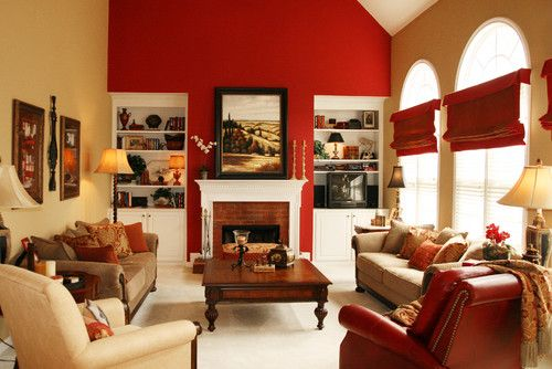 Focal Wall Home Design Ideas Pictures Remodel And Decor Living Room Red Living Room Colors Beige Living Rooms