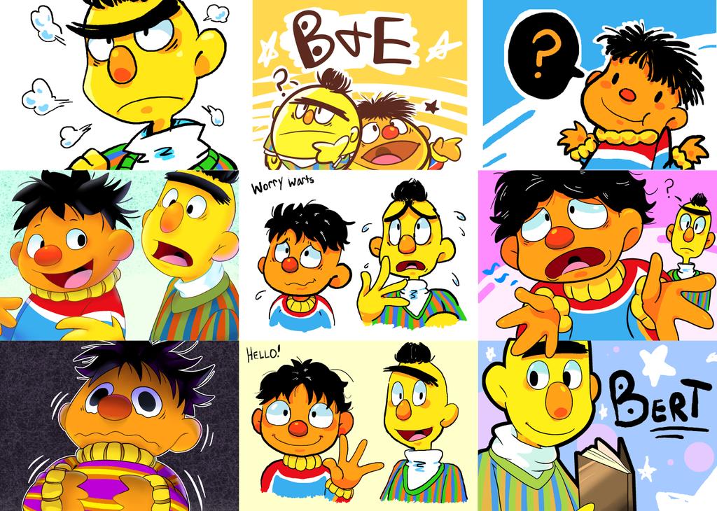 Bert And Ernie Doodles By Reborngamergirl D8s2v3a Png 1024 730 Epi Y Blas