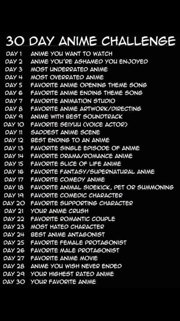 30 Day Anime Challenge Good Anime To Watch Challenges Anime Reccomendations