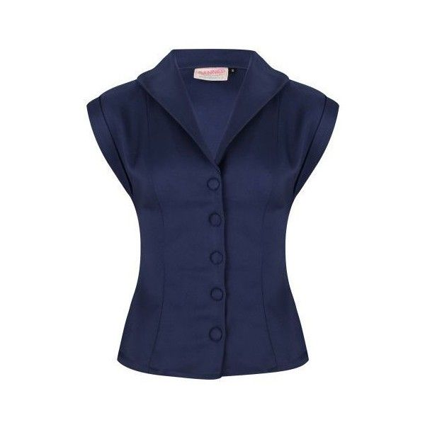 Tops & blouses - vintage stijl kleding - I Love Vintage ❤ liked on Polyvore featuring tops, blouses, blue top, blue blouse, vintage blouses and vintage tops